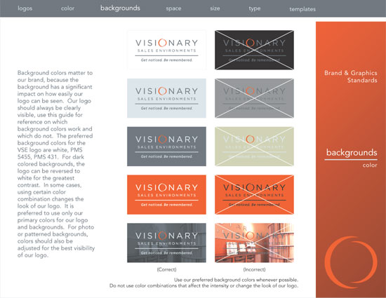 A page from the Visionary Sales Environments brand guidelines showing how to properly use the logo