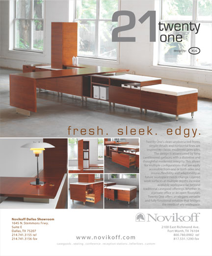 An advertisement for a furniture line named Twenty One