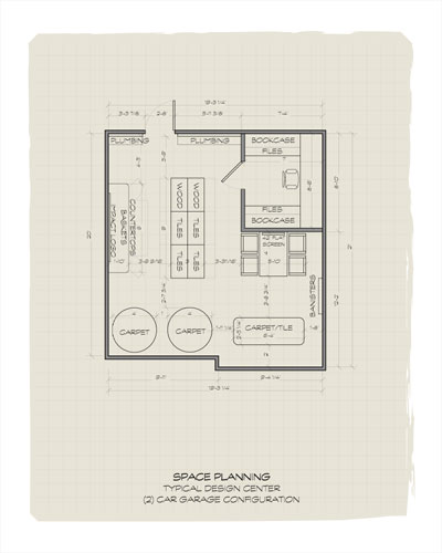 A floorplan of a large showroom with an attached filing room